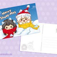 Merry Sheep-Mas Postkarte